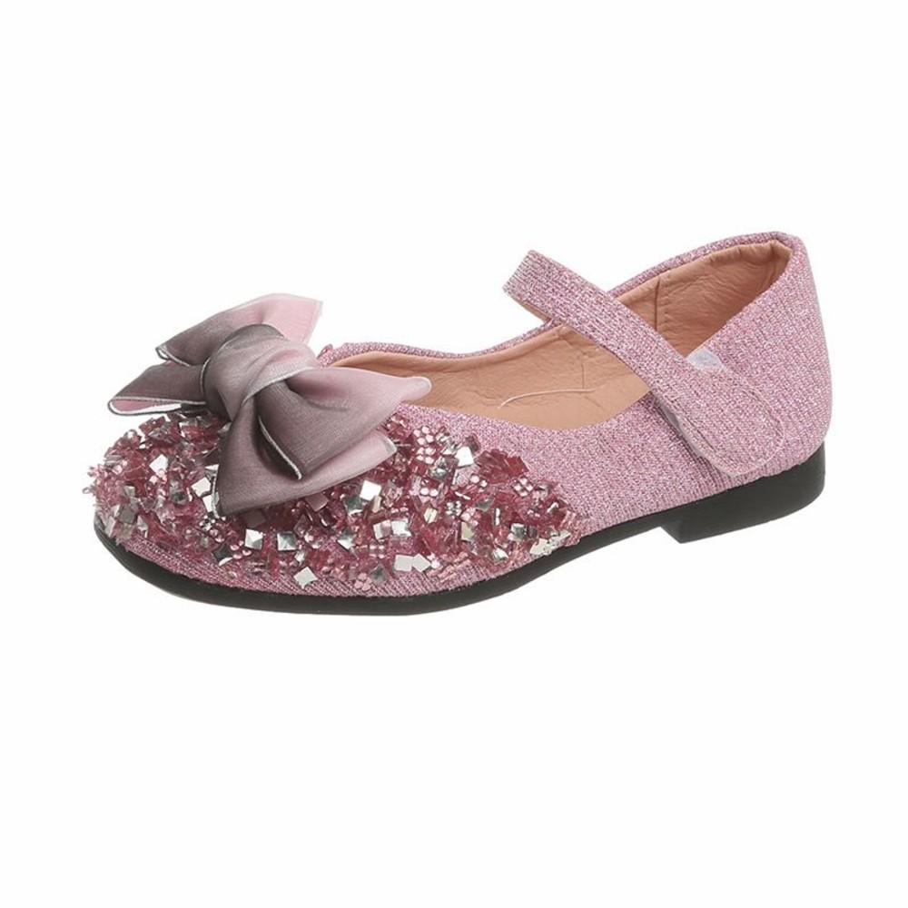 蝴蝶結佐水鑽皮鞋