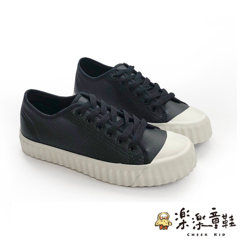 童鞋 【台灣製現貨】MIT皮面透氣百搭休閒鞋-黑